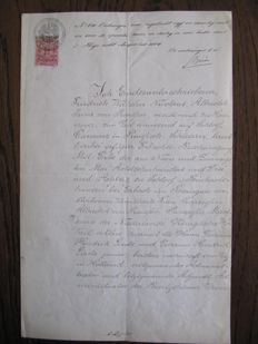 Manuscript; Appointment act, signed by Friedrich, Prince of Prussia - 1884