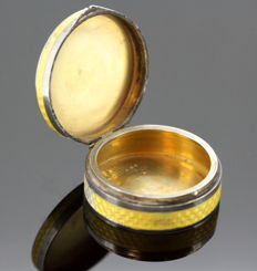 Antique Imported Silver and Yellow Guilloché Enamel Pill Box - Cohen & Charles - London - 1925