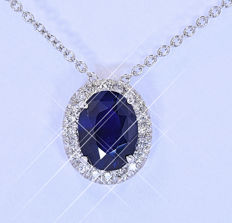1.78 Ct Unheated Sapphire with Diamonds necklace NO reserve price!