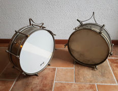 "2 x Vintage Dutch metal snare ,  Royal 14""  + Brand unknown Tilburg 13"""