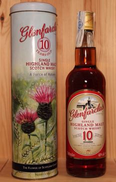"Glenfarclas 10 years old ""A Force of Nature"", Single Highland Malt Scotch Whisky from 1990s, very rare metal box, 40,0%Vol. 700ml"