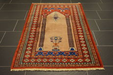 Hand-knotted Persian carpet Jomut Bukhara silky gloss 100 x 160 cm