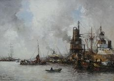 M de Jongere (1912 - 1977) - Drukte in de haven  met laden.
