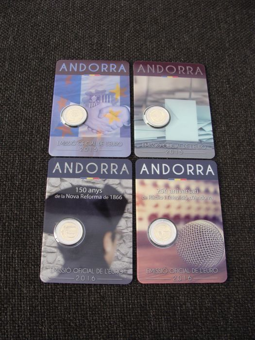 Andorra - 2 Euro 2015 + 2016 (4 different) in coin cards