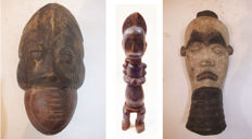 Collection - from legacy - Mask Ibiobio, Nigeria; old monkey's mask Bulu, Ivory Coast; old sculpture, the Fang of Gabon, Africa
