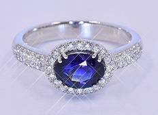 2.15 Ct 100% Natural Sapphire and Diamonds ring NO reserve price!