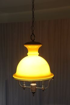 Brass and yellow opal glass hanging lamp, Italy, 1950s