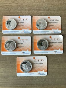 The Netherlands - 5 Medals ´Grootmeesters der lage landen´ in coin cards