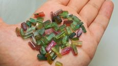 Beautiful multicolor African tourmaline crystals - 105 ct.