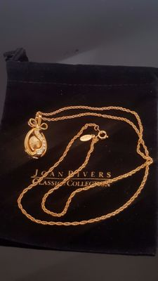 Fabergé inspired signed Joan Rivers Egg pendant Necklace