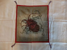 Antique fukusa with painting on silk of a lobster - Japan - Early 20th century