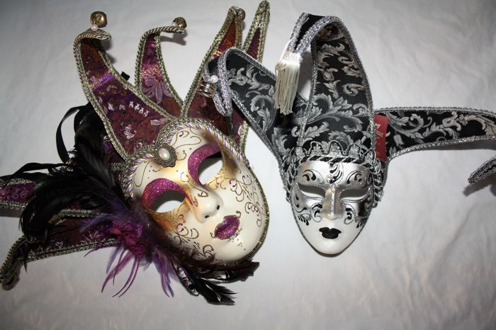 Two Venetian hand-made masks.