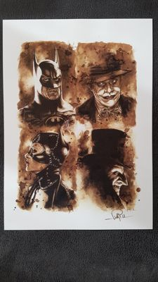 Art Print - Batman vs Joker,Penguin,Catwoman : Coffee Drawing by Juapi (Juan Antonio Abad González )