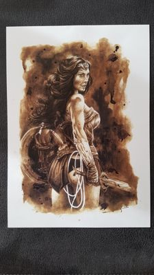 Art Print - Wonder Woman : Coffee Drawing by Juapi (Juan Antonio Abad González )