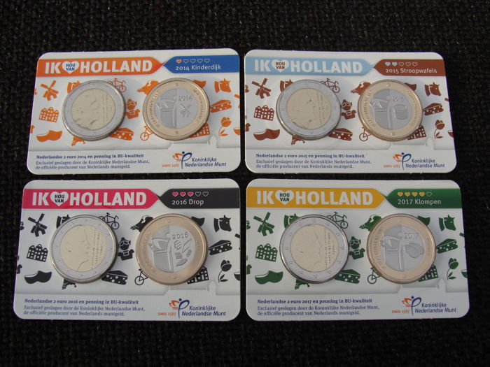 "The Netherlands - 2 Euro coins 2014, 2015, 2016 and 2017 ""Ik Hou van Holland"" (I Love Holland) (4 different coins) in Coin cards"