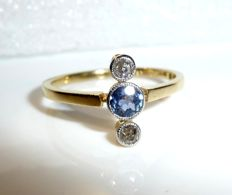 Antique ring made of 14 kt / 585 gold with platinum 2 diamonds of 0.12 ct + ceylon sapphire 0.25 ct, ring size 52 / 16.9 mm - adjustable