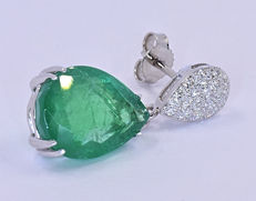 12.81 Ct Emeralds with Diamonds earrings NO reserve price!