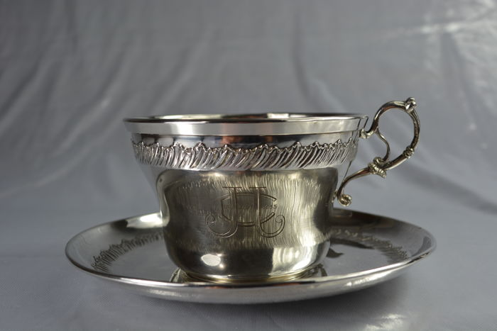 large sterling silver cup and saucer, France 1930