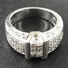 Ring - 18 kt (.750) White Gold - Central Princess-cut Diamonds - Brilliant-cut Diamonds - Free Resizing