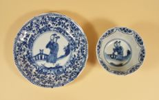 A blue and white tea bowl and saucer - China - 18th century (Yongzheng period)