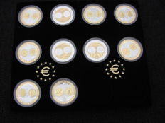 Europe - Set of various medals 'First Strike Euro Countries' (10 different kinds) - Silver, partly gold-plated.