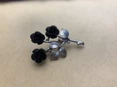 Rose brooch 925 silver circa 1920 Germany