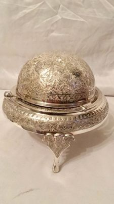 Silver caviar dish with revolving lid, Isfanhan, before 1930