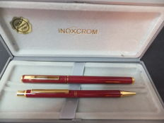 Inox Chrome Fountain Pen & Roller Ball - Red Lacquer and Gold Set