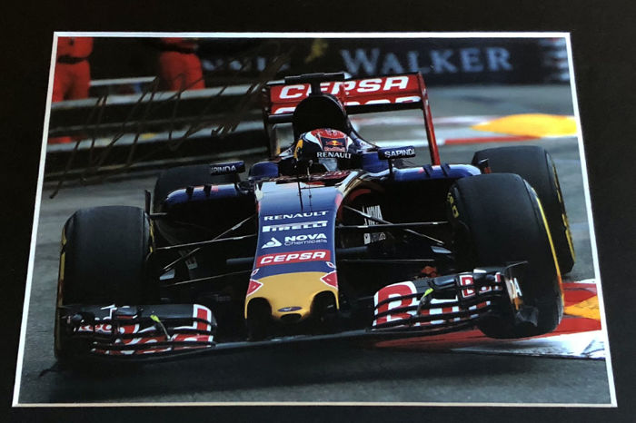 Nice framed image, personally signed by Max Verstappen