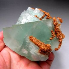 Large blue green fluorite crystals with orange calcite. - 9x9x7,5 cm. - 756 gr