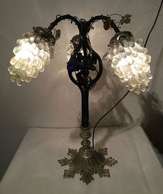 Murano style grapevines lamp with three bunches of mouth-blown grapes - decorated with flowers and leaves - 20th century