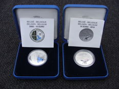 """Belgium - 10 Euro 2008 """"The Blue Bird"""" and 10 Euro 2010 'Royal Museum for Central Africa' - silver coloured."""