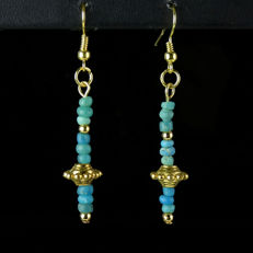 Earrings with Roman turquoise glass beads - 56,6 mm