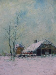 Simon Kramer ( 1880-1957 ) - Winterlandschap and Havengezicht.