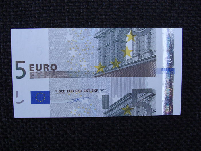 European Union - Germany - 5 euros 2002 Duisenberg - intentionally cut wrong