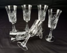 Set consisting of 6 hand cut and etched stem glasses - Saint Louis France - circa 1900