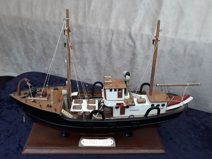 """Chalutier"" wooden model fishing boat."