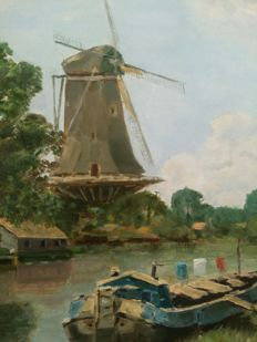 Unknown (20th century) - Riviergezicht met molen en schip