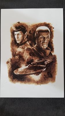 Art Print - Star Trek Captain Spock and Enterprise : Coffee Drawing by Juapi (Juan Antonio Abad González )