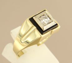 14 kt bi-colour gold men's ring set with onyx and zirconia - ring size: 20.5 (64)