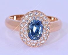 1.84 Ct 100% Natural Sapphire, pink ring - Size: 14. Inside diameter: 17.2 mm. NO reserve price!