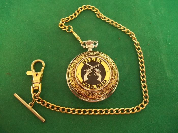 Franklin Mint - The legends of the West - Billy The Kid pocket watch and chain - 24 carat gold-plated and silver-plated - Rare