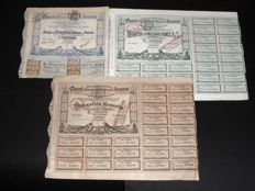 Lot: 3 different Interoceanic Panama Canal 1880 + 1884 + 1887