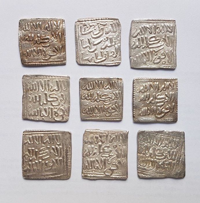 Spain – Lot of 9 Almohad Square Dirhams, Anonymous and without mint (1148-1228)