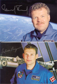 Set of 4 signed cards by ESA astronauts
