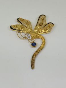 Dragonfly 18 kt (750) gold brooch - 5.5 x 4.5 cm - Synthetic stones and enamel
