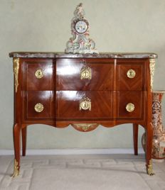A Transition kingwood and rosewood parquetry commode - stamped JB Vassou and JME - France - circa 1770
