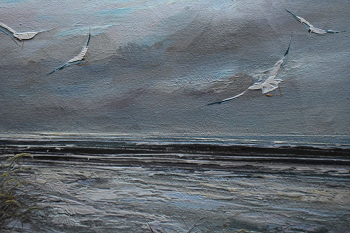 Unknown (20th Century ) Fishing - Seagulls Seascape South Cost