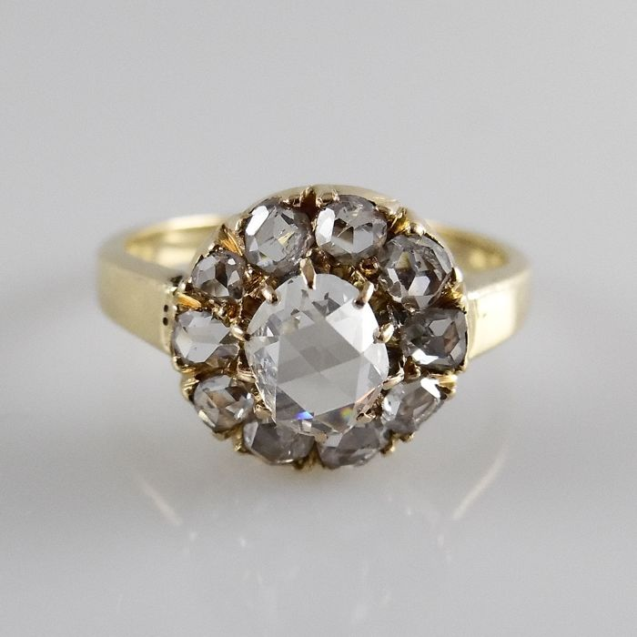 18 kt gold antique ring with rose cut diamonds - 3.7 g - ring size 17.25 (54)
