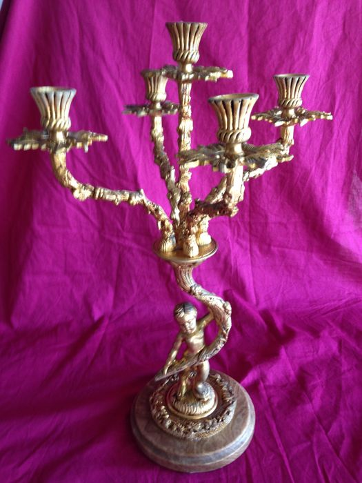 Vintage bronze candelabrum - France - early 20th century